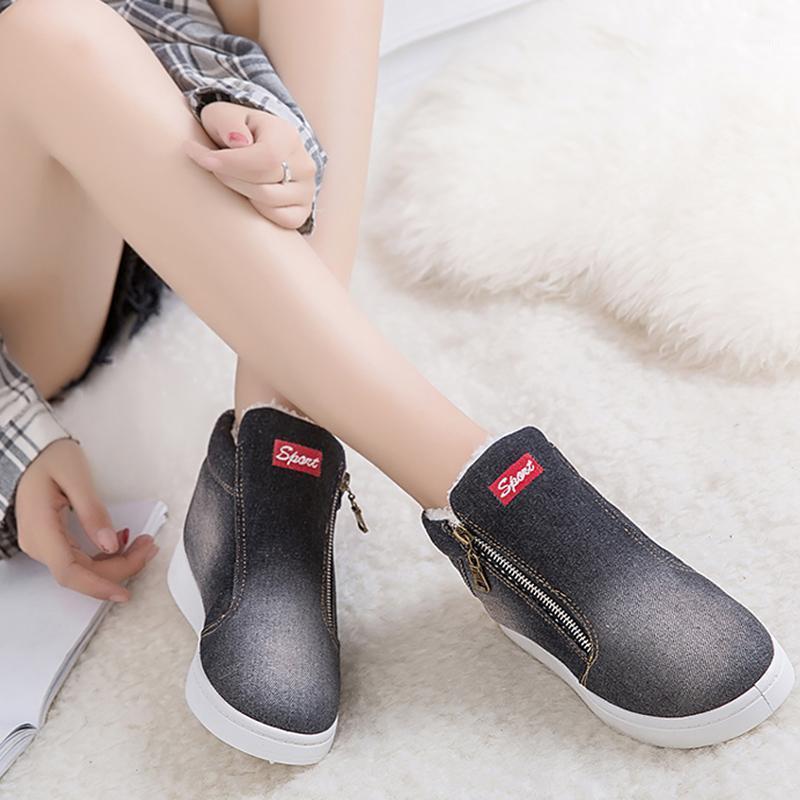 Botas de Femininas Zipper Grande Denim Jeans Tamanho 43-44 Sapatos Quentes de Inverno Mulher Botas Quentes Botas de Lona para Meninas1