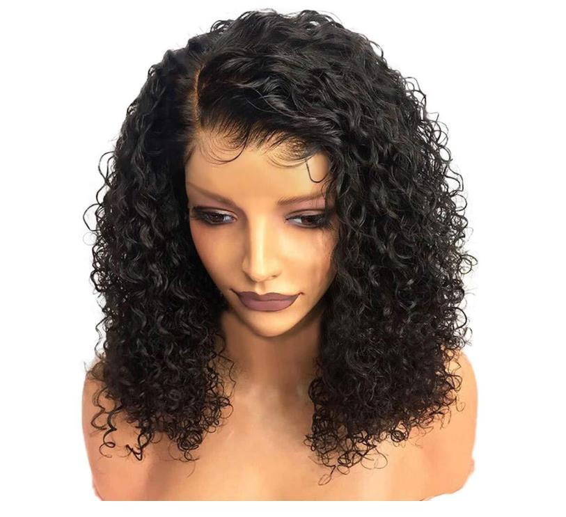 Wave water Curly Lace Front Wig Synthetic Wigs For Black Women Remy Brazilian Malaysian preplucked baby hair n19