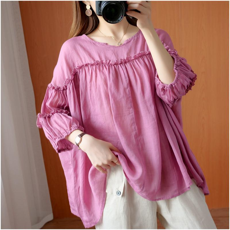 Johnature Women Vintage T-Shirts Solid Color 2020 Summer New Korean Style Patchwork Female Casual Loose T-Shirts