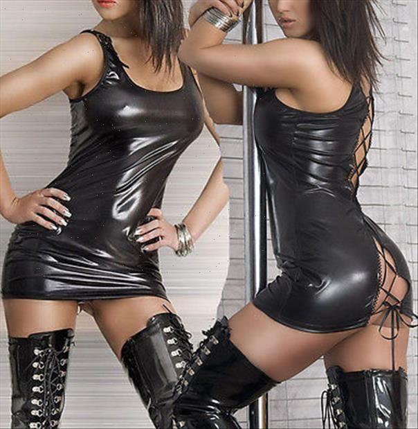 Kadınlar Seksi Siyah Clubwear Bluzlar Üst Lace Up PVC Faux Deri Bandaj Mini Gömlek Islak Bak