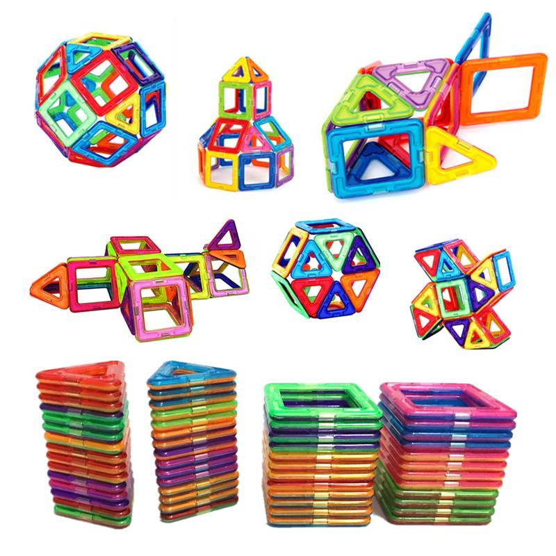54pcs grande taille Magnetic Building Blocks Triangle carré de briques concepteur Enlighten briques Jouets magnétiques Stickers cadeau gratuit c1114