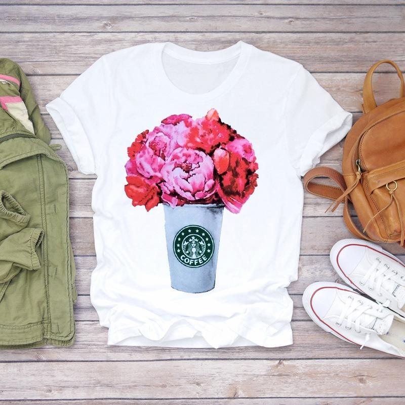 desgaste 2020 flor de manga curta mulheres verão moda florais T-shirt Flower Top flores impressão T Shirt-de Mulheres Top Igb4P