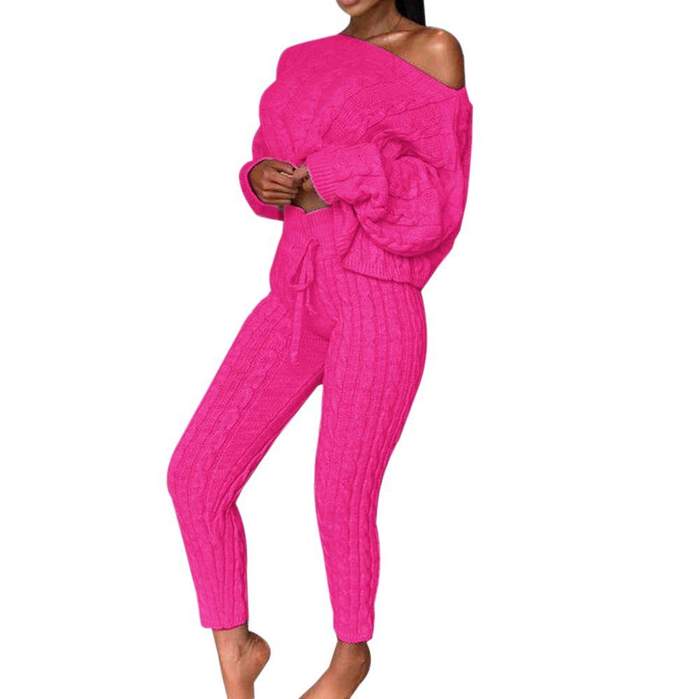 Damen Casual Knit Set Zweiteiliger Outfit Langarm Pullover Kurze Pullover Ernte Top Kordelzug Lange Hose Set