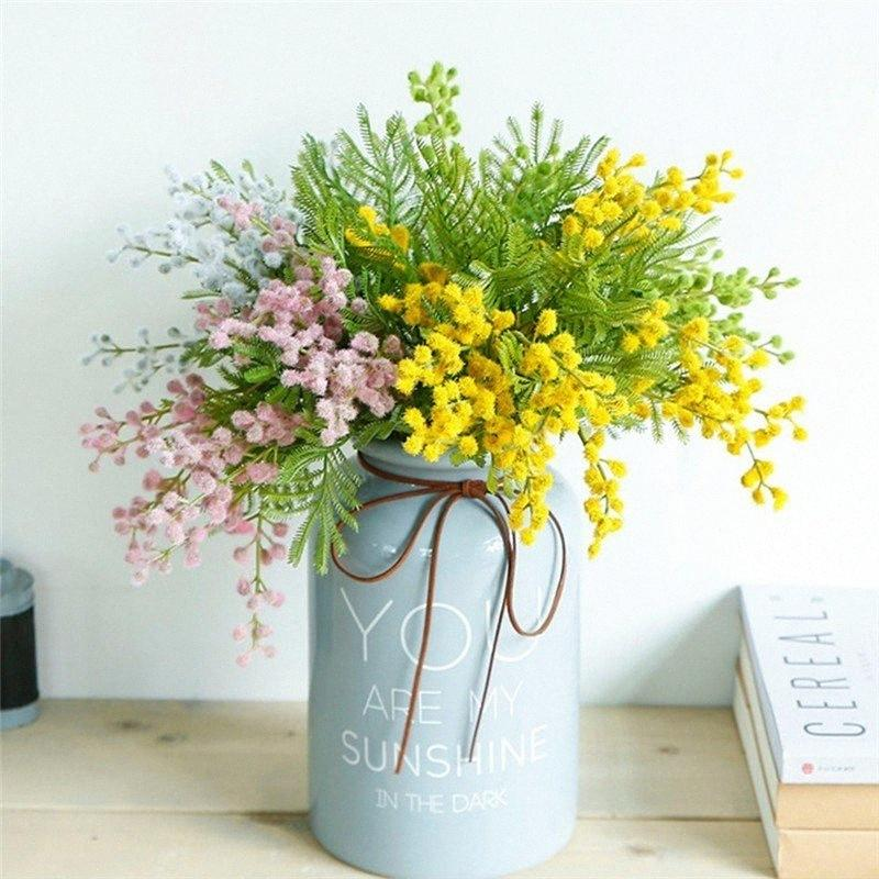 40CM Acacia Gefälschte Blumen Künstliche Grünpflanze Acacia Bean Bunch DIY Hochzeit Weihnachten Garten Inneneinrichtungen Bean Grass getX #