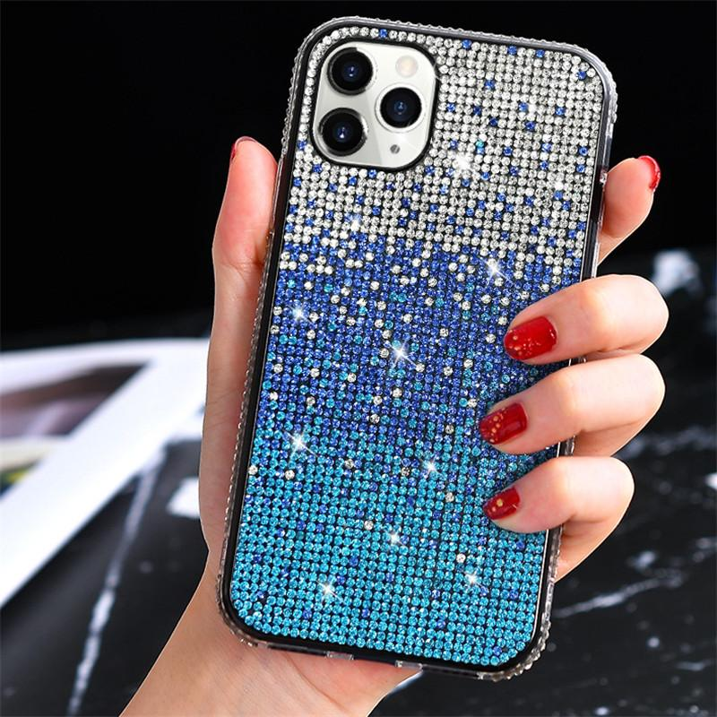 Bling Bling del brillo del teléfono caso del iPhone para 12 11Pro XS MAX para el iPhone 6 7 8 Plus Gradiente diamante Casos