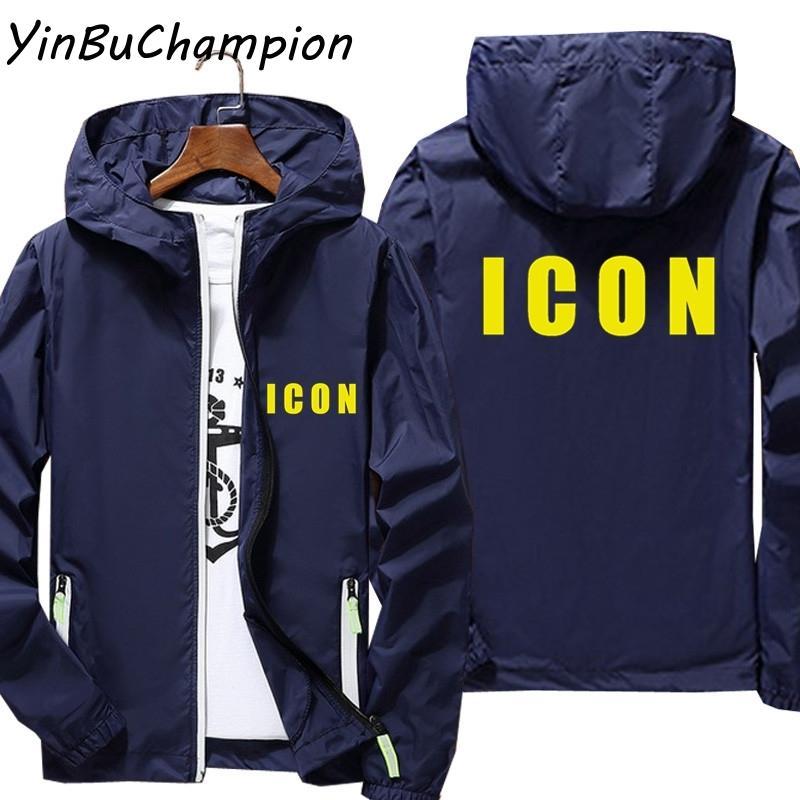 Ícone Plus Size 6XL 7XL Bomber Jacket Men Reflective Protetor solar da pele casaco corta-vento fina com capuz Outwear Caminhadas Camping Pesca