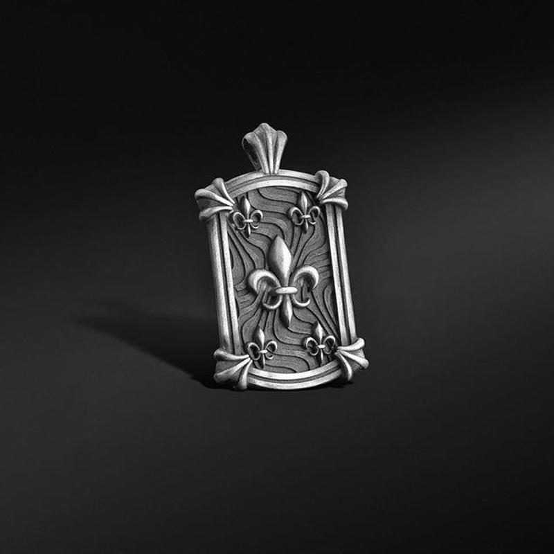 Fashion ins Hip Hop Gold French iris Medallion Pendant women's Christian men's necklace long sweater chain