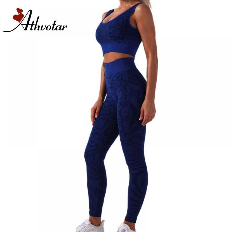 Spor Giyimi Koşu Athvotar Kadınlar Dikişsiz Yoga Seti Spor Giyim Yüksek Bel Gym Tozluklar + spor Sütyen