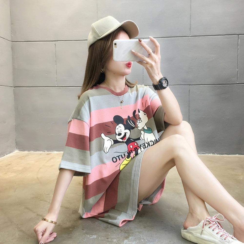 ZVeqe 6535 cottonsummer para T-shirt ins do arco-íris Stripe dos desenhos animados solta impressa ocasional T-shirt de manga curta novas mulheres NHITS