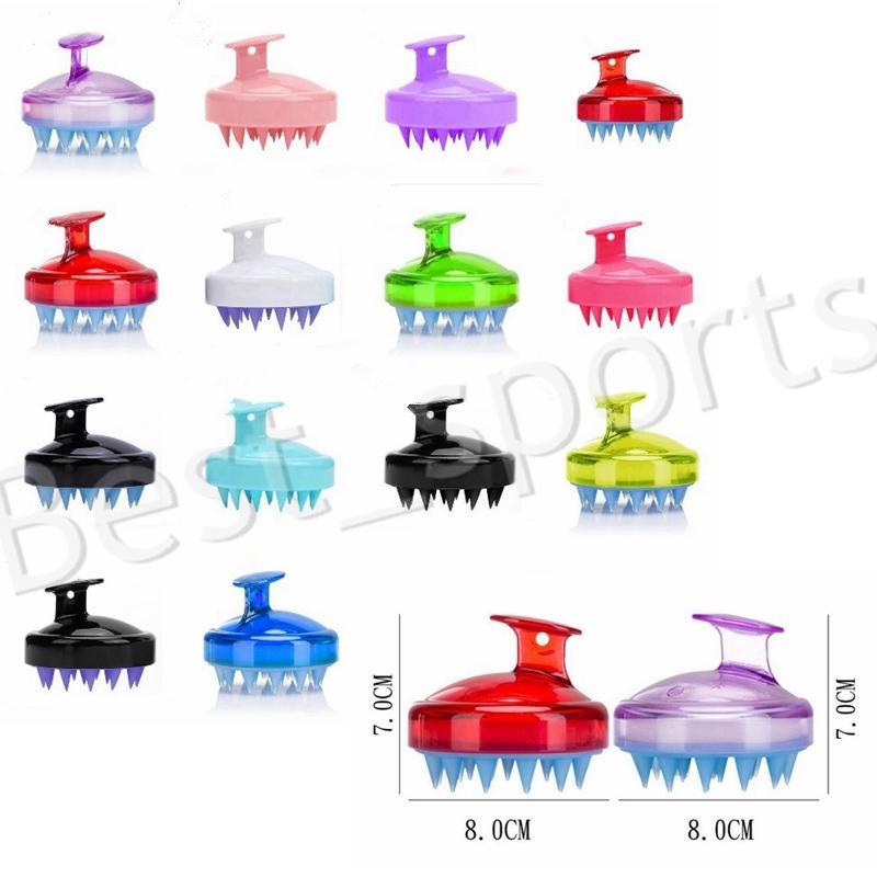 14 styles de massage Brosse de lavage des cheveux Scalp Scrub coussin d'air Shampooing silicone peignes de nettoyage Accessoires de salle de YYA542