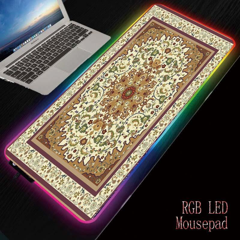 الألوان Mairuige الفارسي البساط كبير LED ضوء RGB ماء الألعاب ماوس الوسادة USB السلكية ماوس الفأر الفئران بساط 7 إبهار للكمبيوتر PC