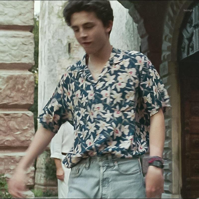 Camicia floreale a maniche corte da uomo Summer Season Me By Your Name Movie Timothy Same Shotel Shirt-shirt a maniche corte stampata 1