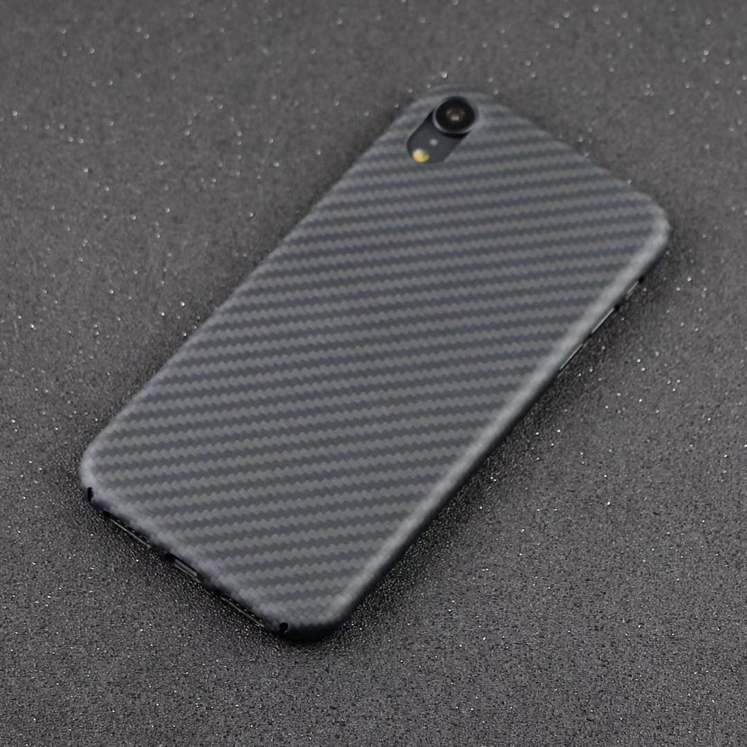 0,65 mm ultra delgado de lujo del patrón de fibra de carbono para la cubierta del iPhone XR XS XS MAX completa funda protectora de fibra de aramida
