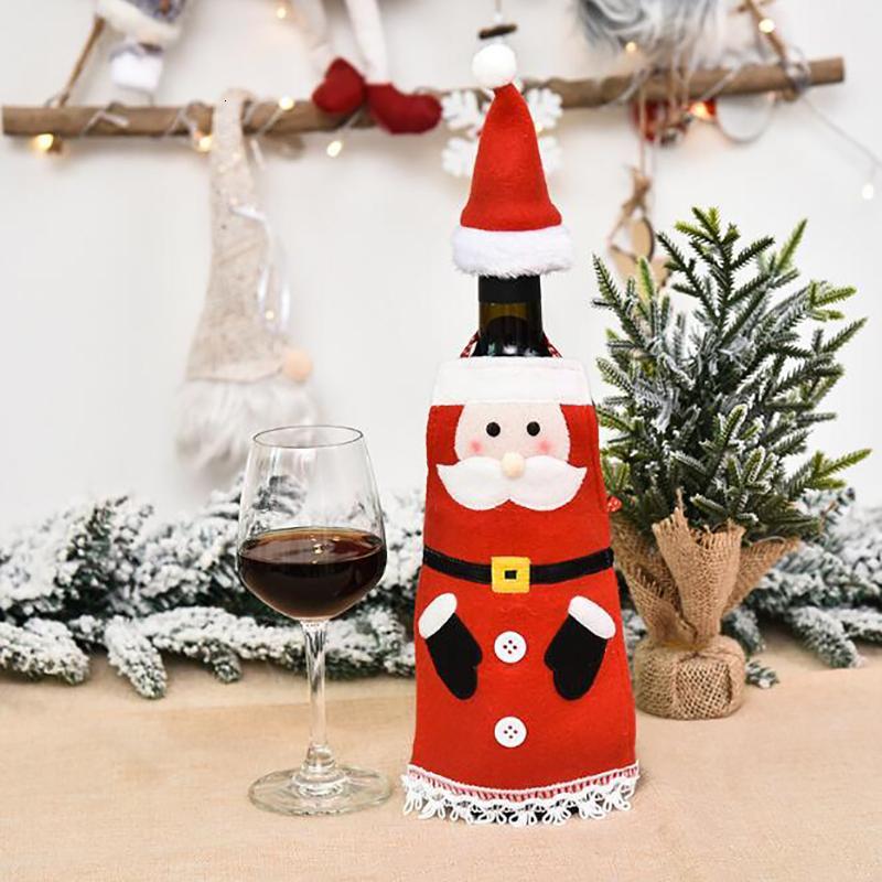Вино Рождество Бутылка Обложка сумка Velvet Фартук с крышкой Красных бутылками вина Обложки Главных Новогодние украшения