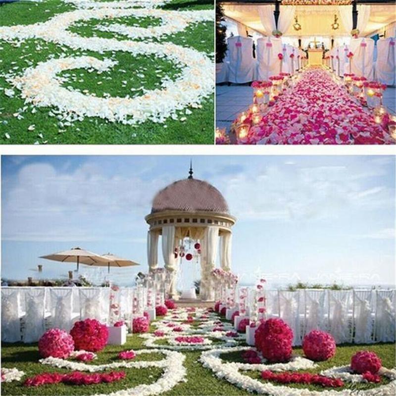 Fiesta de la boda pétalos de rosa románticas 1000 PC boda pétalos de varios colores de flores de seda Decoración cesta falso confeti Flor