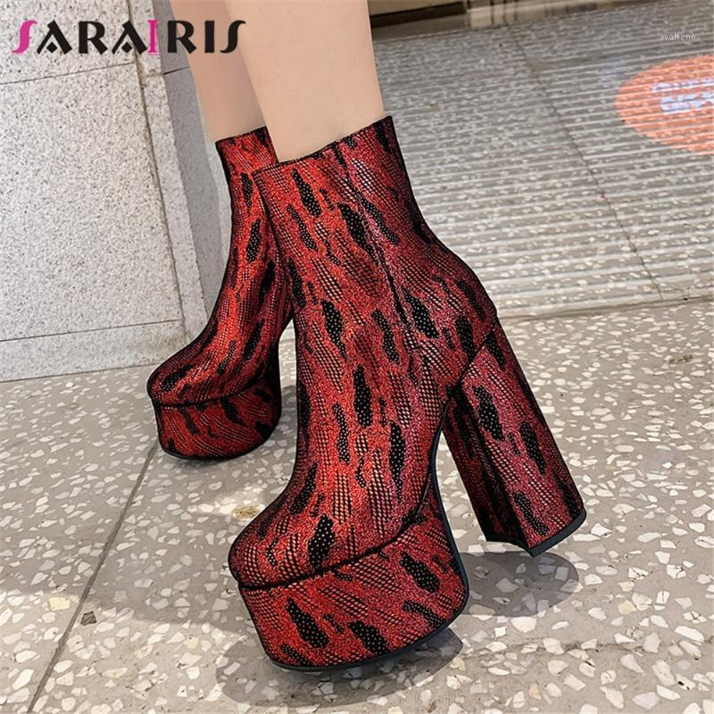 SARAIRIS New Large Size 34-43 Fashion High Platform Booties Lady Party Night Club Ankle Boots Women 14cm High Heels Shoes Woman1