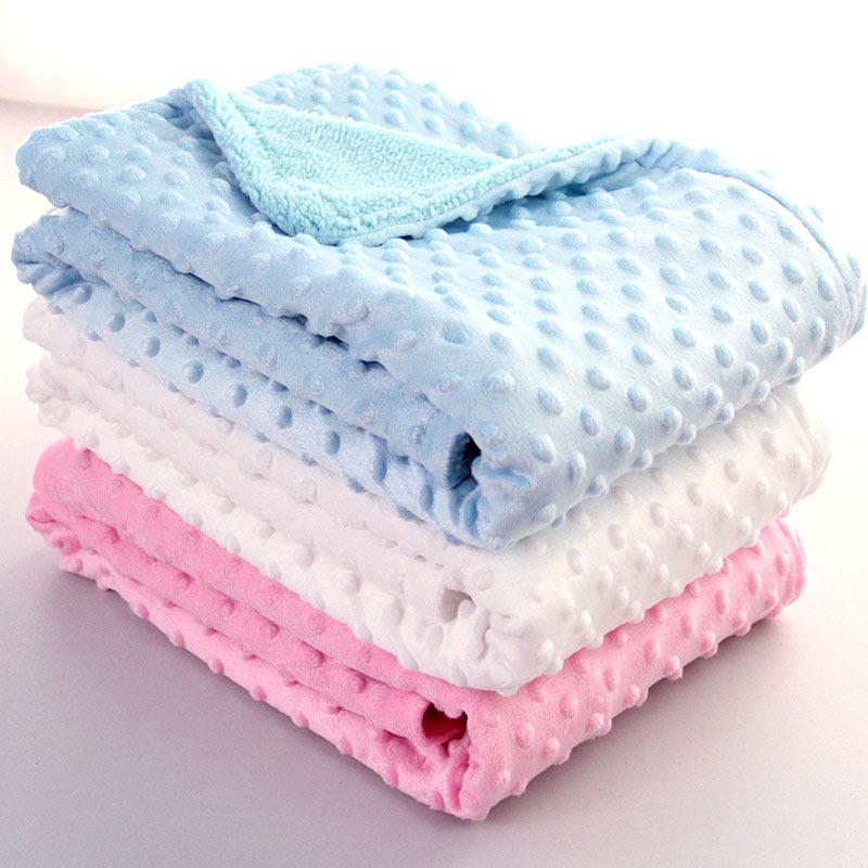 Couverture pour bébé nouveau-né emmailloter doux Toison thermique Blanket solide Literie coton Quilt 1016