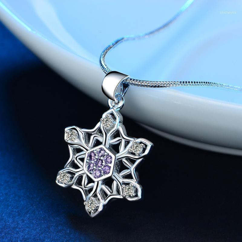 Colgante de copo de nieve de diamante blanco púrpura con cadena de serpiente collar de color plata forma colgante colgante collar1