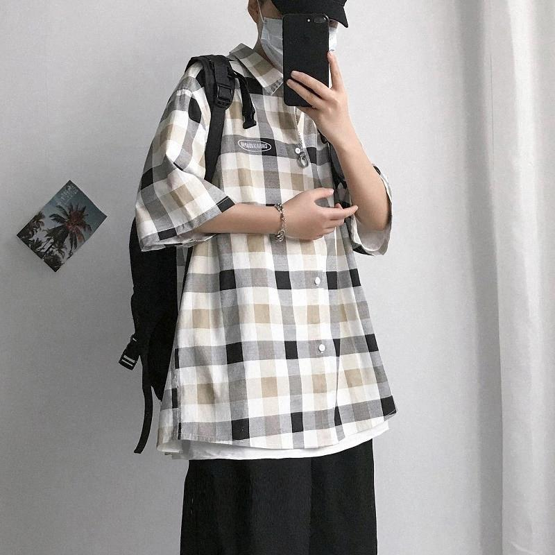 2020 Summer New Youth Popular Men's Loose Large Size Color Matching Lattice Five-point Sleeve Shirt Fashion Casual Shirt Jacket #wN3A