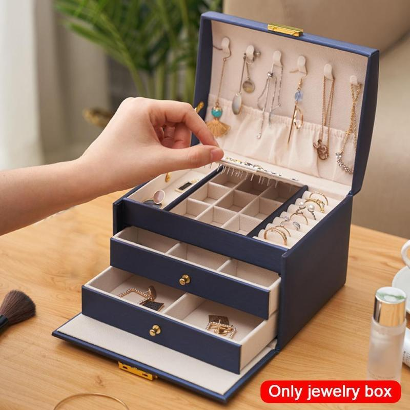 Jewelry Box Large Capacity PU Leather Necklace Earrings Rings Bracelets Jewelry Box Portable Travel Case Storage