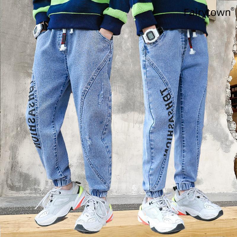 Erkekler için kot genç kargo pantolon gevşek pantolon hip-hop moda mavi dikiş kiriş harem 4 6 8 10 12 14 16 yaşında