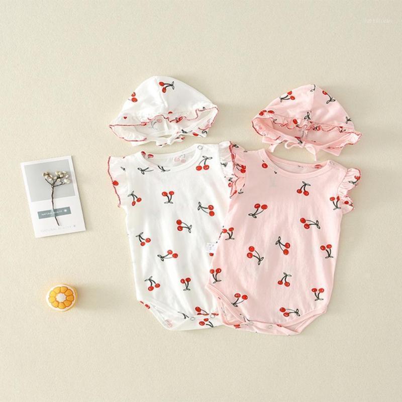 Sommer Kleinkind Kinder Baby Mädchen Cherry Print Flare Sleeve Strampler Hut Zwei Teiler Kit Kleidung Neue Ankunft 20201