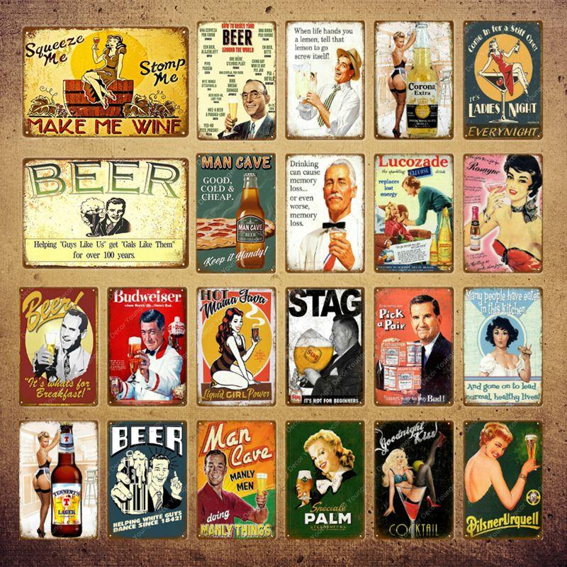 2021 Cocktail Beer Beer Metal Signes Vintage Affiche Vintage Sticker mural pour PUB Bar Pur Party Decoration Décoration de fer Peinture de fer Homme Cave Décor 20x30cm