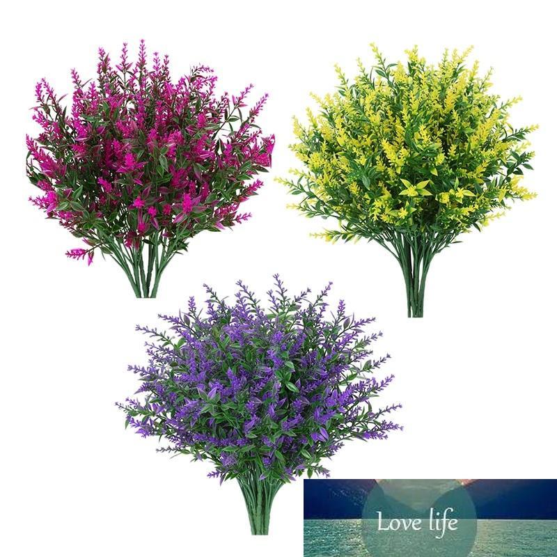 12 Paketler Yapay Lavanta Çiçekler Açık Sahte Çiçekler Dekorasyon Faux Bitkiler Bahçe Sundurma Pencere Kutusu Dekor