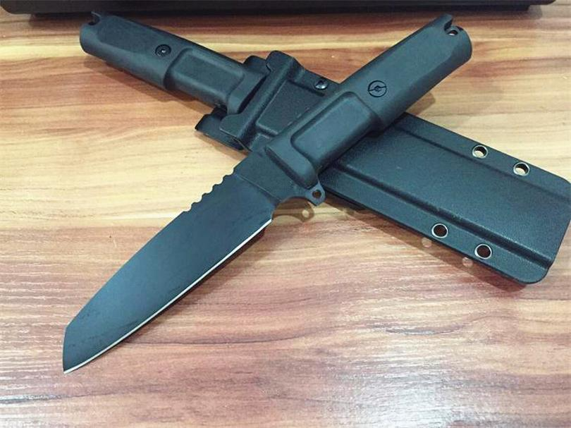Promotion Outdoor Tactical knife 7Cr13Mov Black Blade Full Tang Black Forprene Handle Survival Straight Knives With Kydex