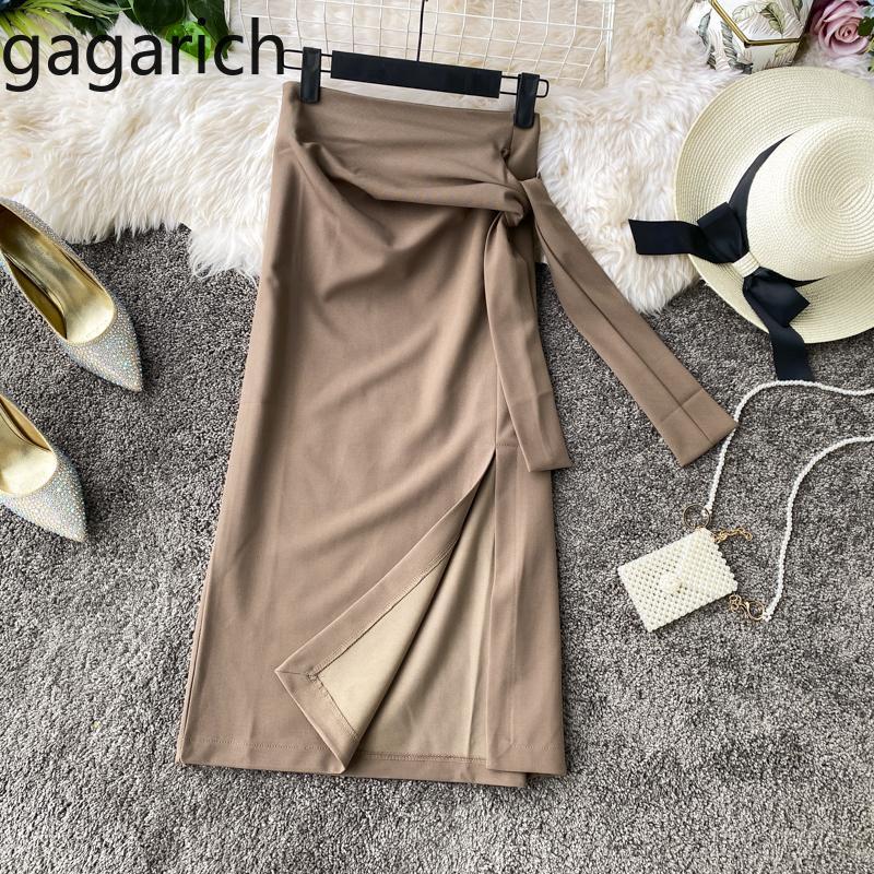 Gagarich Frauen Mode Bodycon Röcke Damen Frühling Herbst Casual Side Split Bandage Jupe Femme Stilvolle solide Rock Elegante q1229