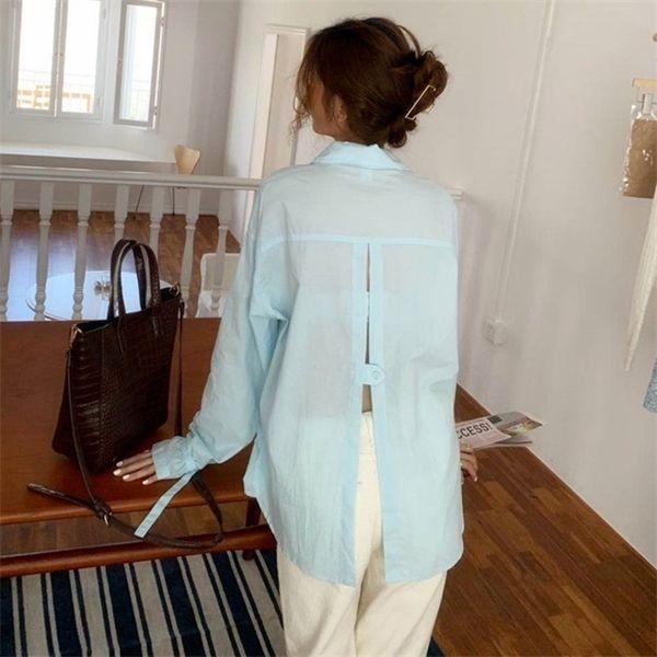 camisa de cor sólida ocasional volta sensuais blusas de manga longa de abertura de cama colarinho partes superiores das mulheres e blusa 2020 (B9013) C1015