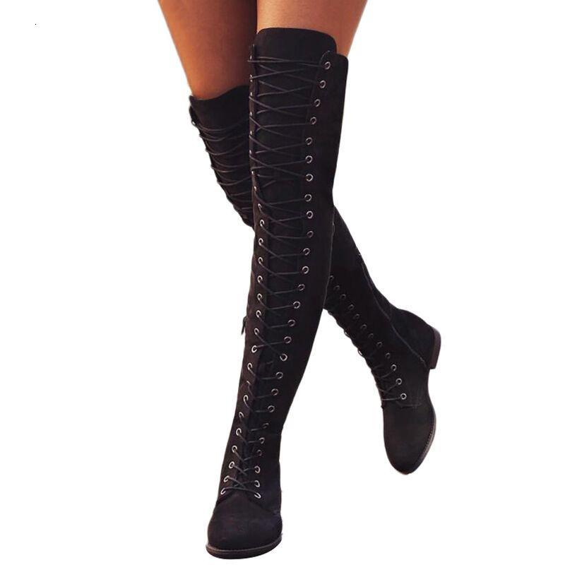 أسلوب الفخذ أحذية عالية الرباط حتى المطاط الجلد المدبوغ روما المرأة مثير أكثر من الركبة التمهيد للنساء أحذية أنثى