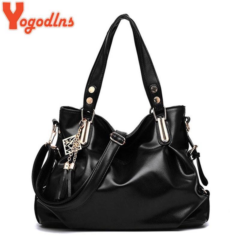 Yogodlns 2020 nappa borsa di cuoio di vendita caldi Quality PU borse a spalla del messaggero delle donne delle borse dei sacchetti Donne borsa in pelle