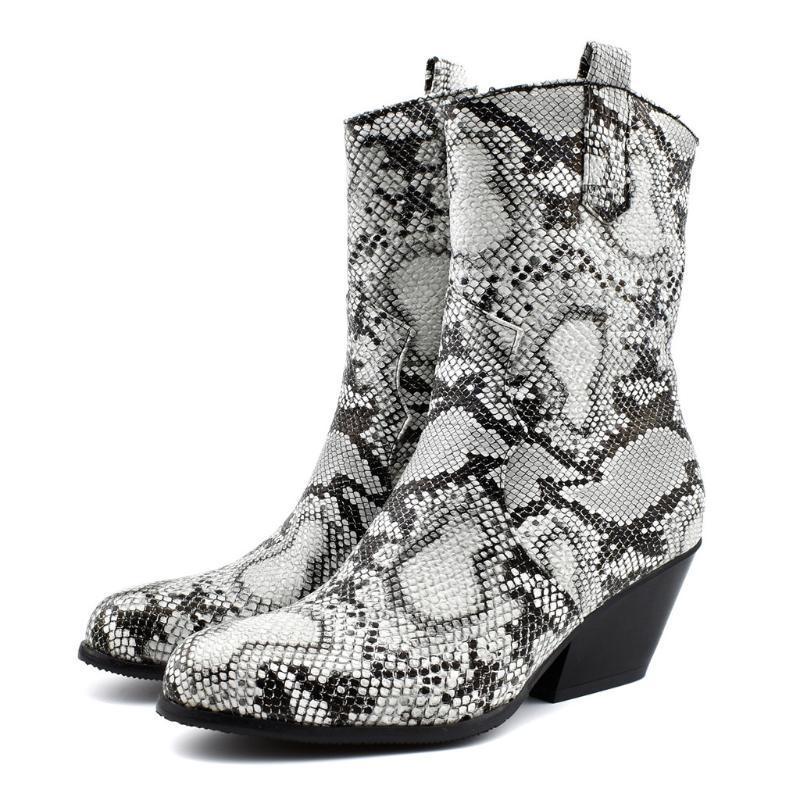 2020 Outono botas de inverno morno mulheres Sapatinho Pattern alta Botas For Women Wedge Cobra alta Tubo Oblique salto Tamanho Grande Nova