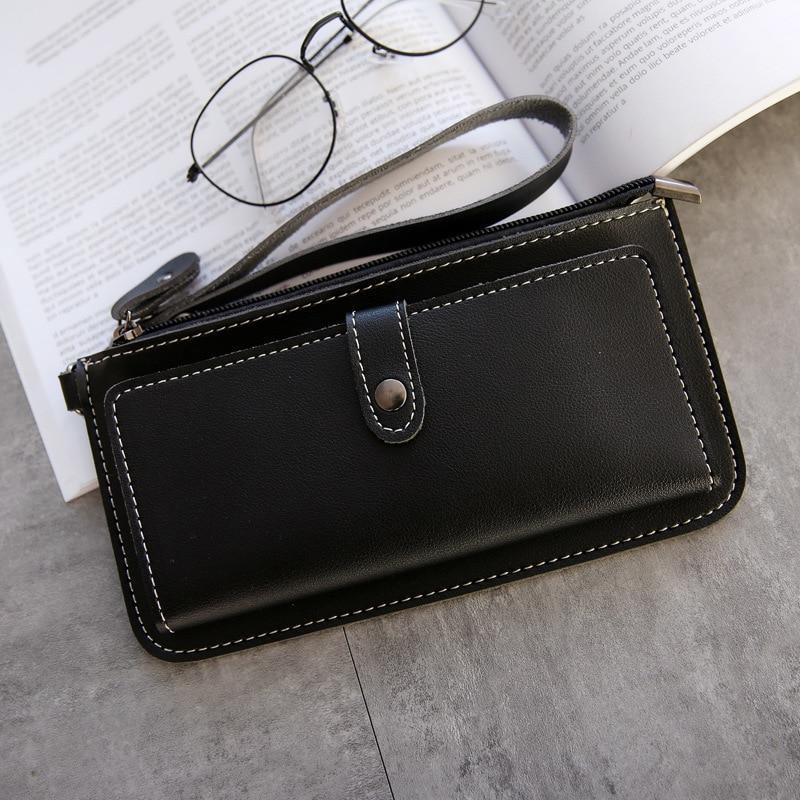 2020 Mode Frau Brieftasche Einfache Reißverschluss Geldbörsen Kupplung Für Frauen PU Leder Dame Geldbörse Telefon Tasche Kartenhalter Mädchen Carteras