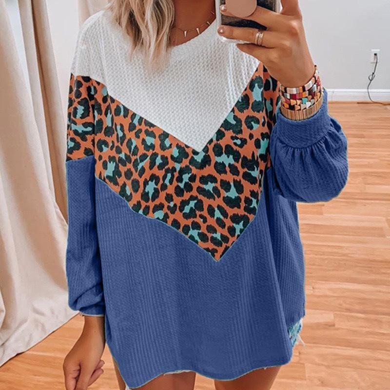 Frauenpullover KINTING Frauen Kleidung 2021 Oansatz Leopard Patchwork Pullover Tops Weibliche Lange Lose Pullover Für Femme Gestrickt