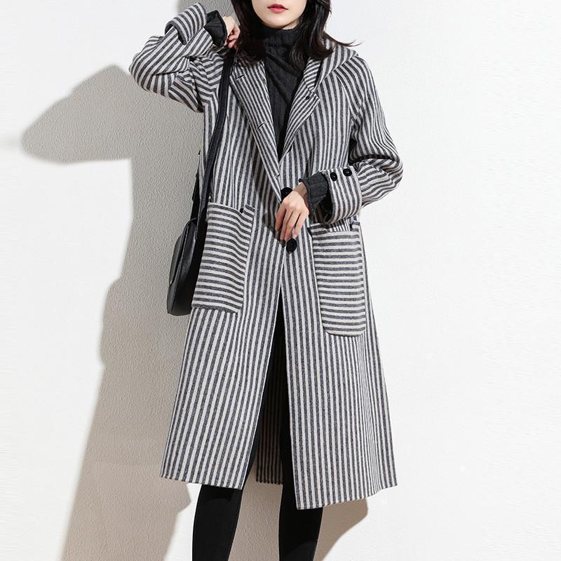 2020 Automne Hiver Femmes Villettes élégantes Stripe Laine Vestes Dames Femme Loose Poche Split Veste à capuchon de laine N10601