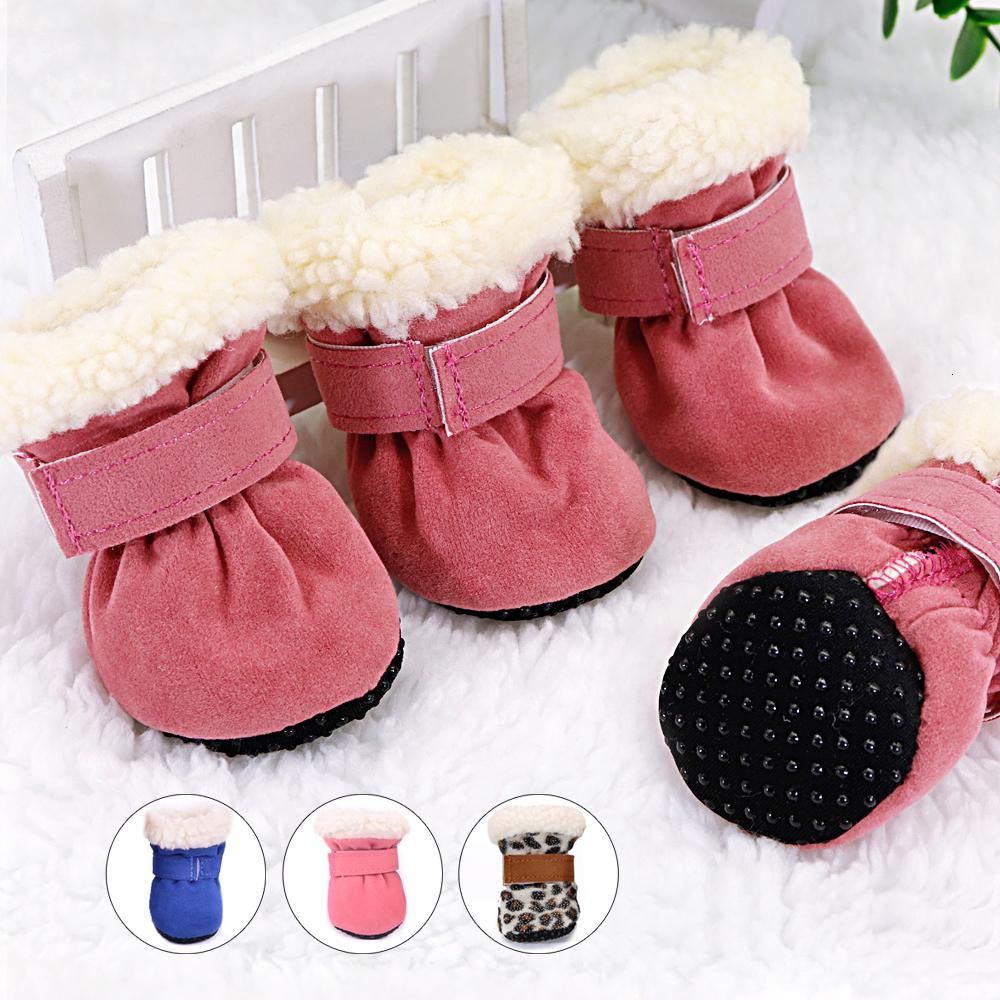 4 adet Pet Ayakkabı Su Geçirmez Kış Köpek Çizmeler Çorap Kaymaz Yavru Kedi Yağmur Kar Patik Ayakkabı Küçük Köpekler Chihuahua