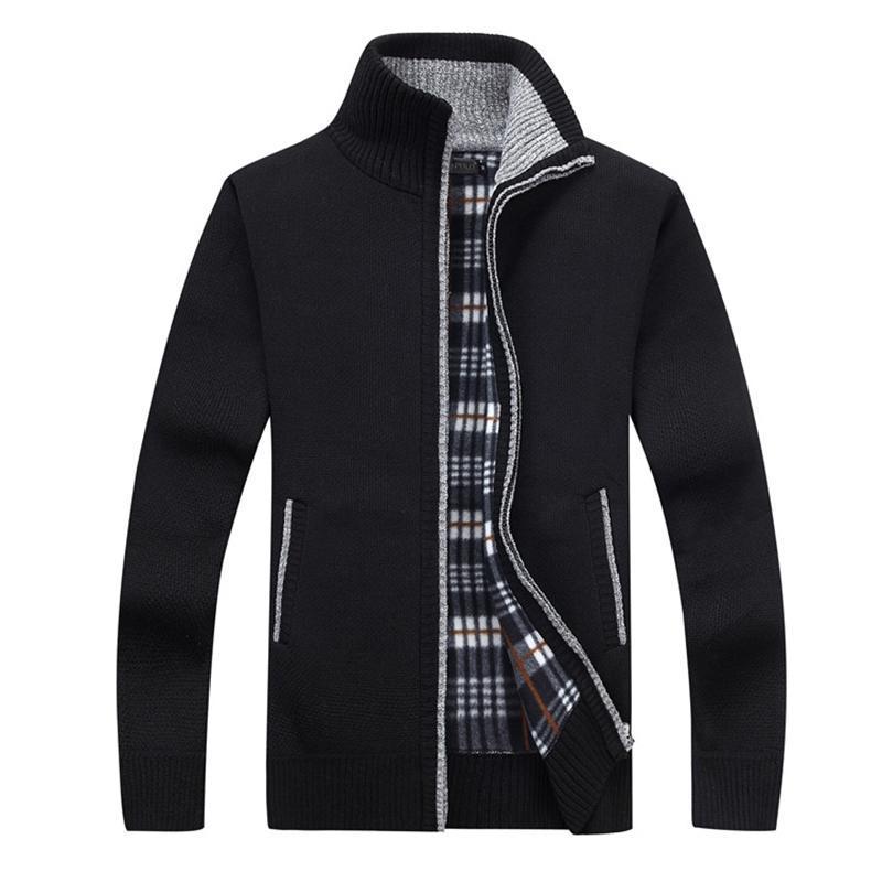 New 4XL 5XL Hommes Toison Sweate Automne Hiver chaud Cachemire Robe Slim Fat Laine Zipper Casual Hommes Pull tricoté manteau AG1383