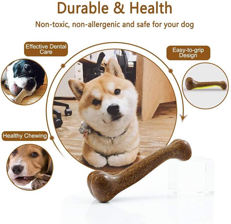 Benepaw Neredeyse Yok edilemez Köpek Kemik Doğal Toksik olmayan Köpek Oyuncakları İçin Küçük Orta Büyük Köpekler Hayvan Oyunu Diş Bakımı Chew