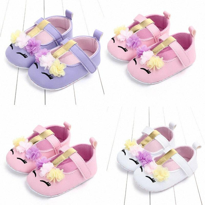Pudcoco bambino neonate Fiore Unicorn scarpe delle scarpe di cuoio dell'unità di elaborazione suola molle Presepe Primavera Autunno primi camminatori 0-18M CxOr #