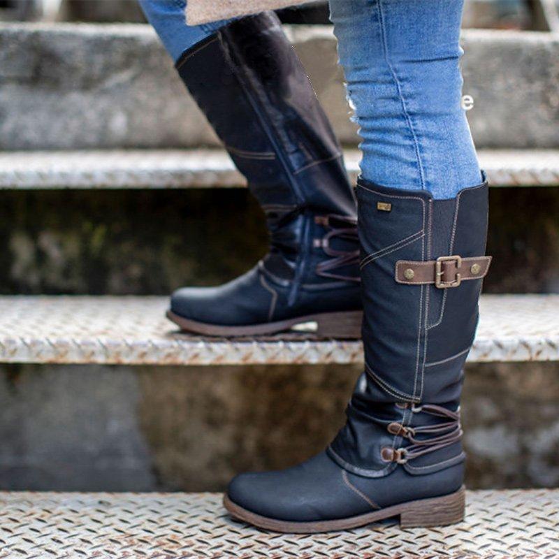 أزياء الشتاء المرأة السوستة الجانبية الشريط الإبزيم منتصف العجل جولة السيدات الكعوب تو منخفضة الشرير أحذية ركوب الخيل للبنات