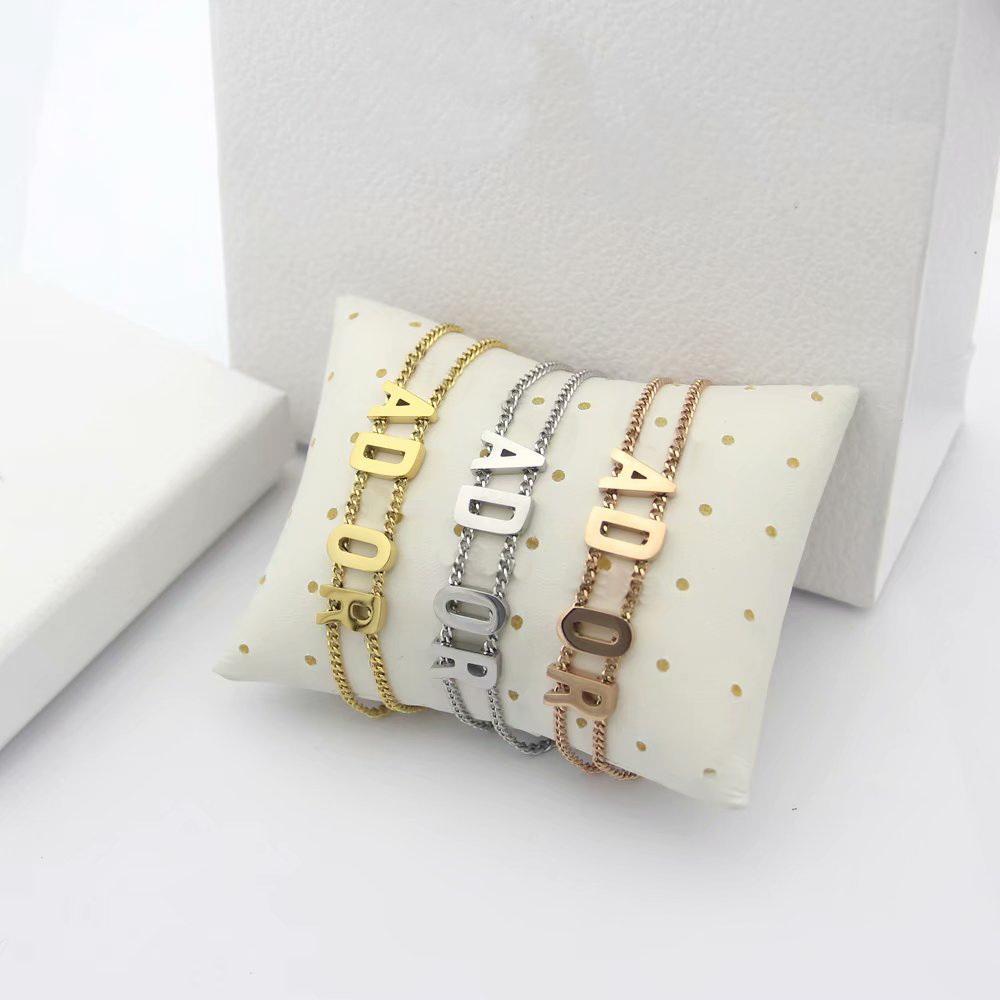 Europa américa estilo moda senhora mulheres titânio aço de corrente dupla bracelete com dy iniciantes pendant 3 cor