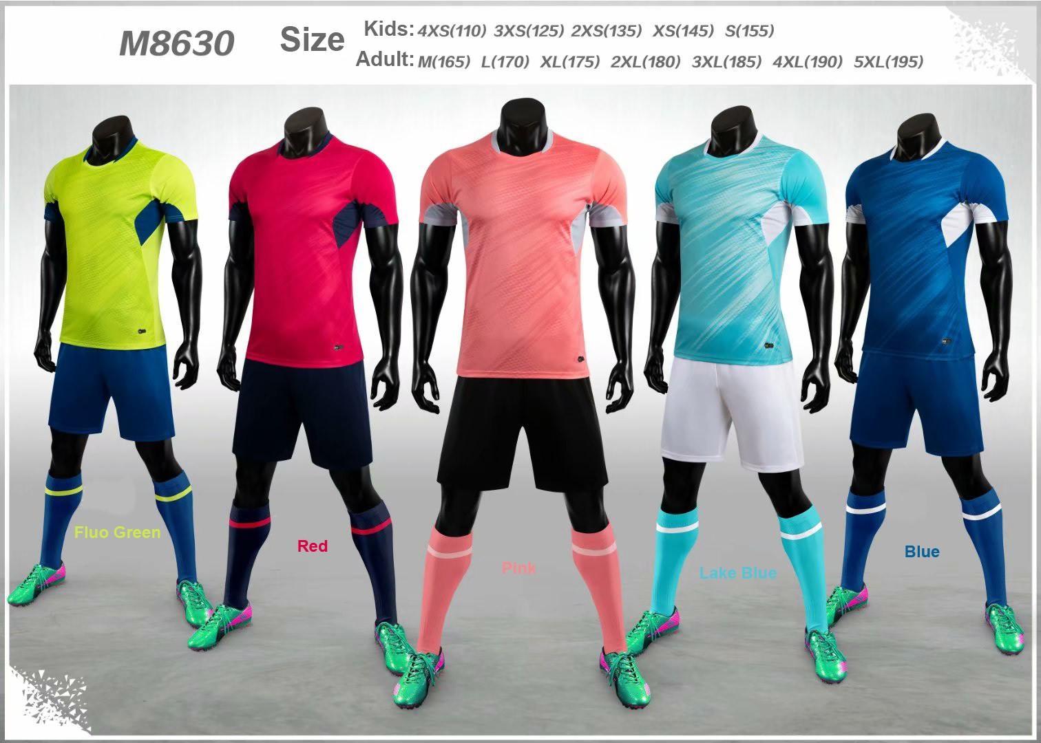 2020-2021 özelleştirme Takım Seti Yetişkin Çocuk Futbol Jersey Seti Futbol Takımı Erkekler Çocuk 4XS-5XL Blank Eğitim Üniformalar M8630