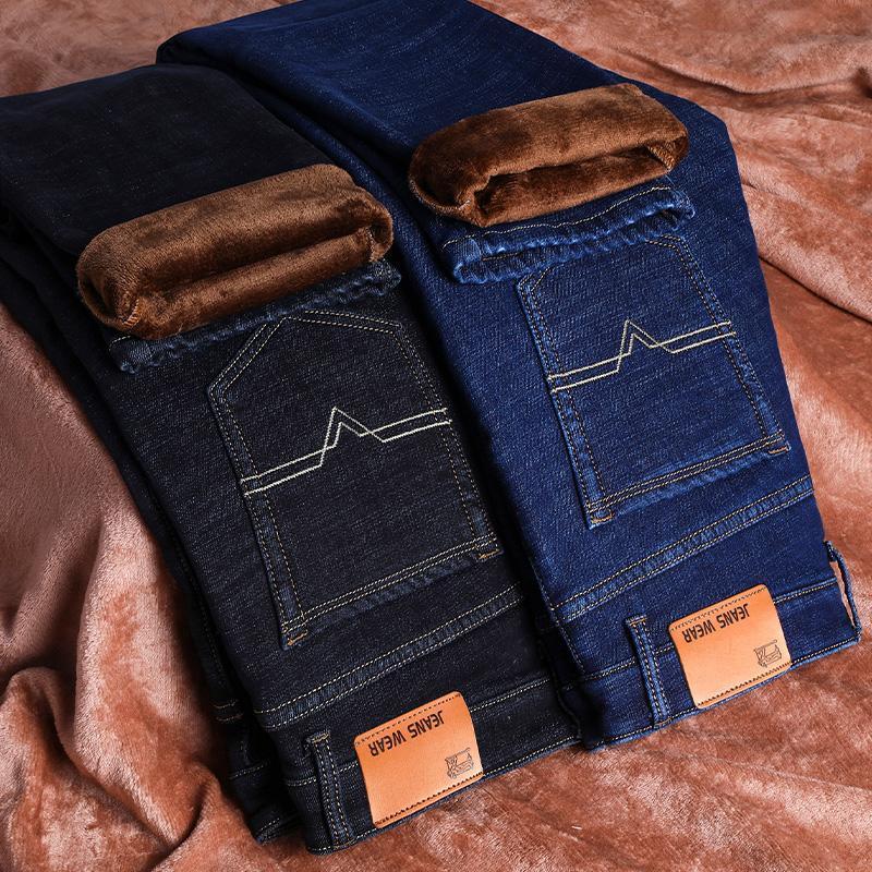Herren Thermal Fleece-Futter Jeans Winter-Slim Fit verdicken Stretch Warm-Denim-Hosen Plus Size Herrenbekleidung