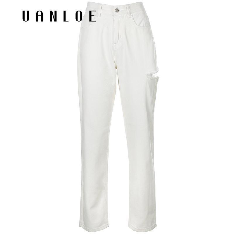 Женские джинсы белые модные женские отверстия уличная одежда высокая талия винтаж прямой harajuku кнопка джинсовые брюки груз