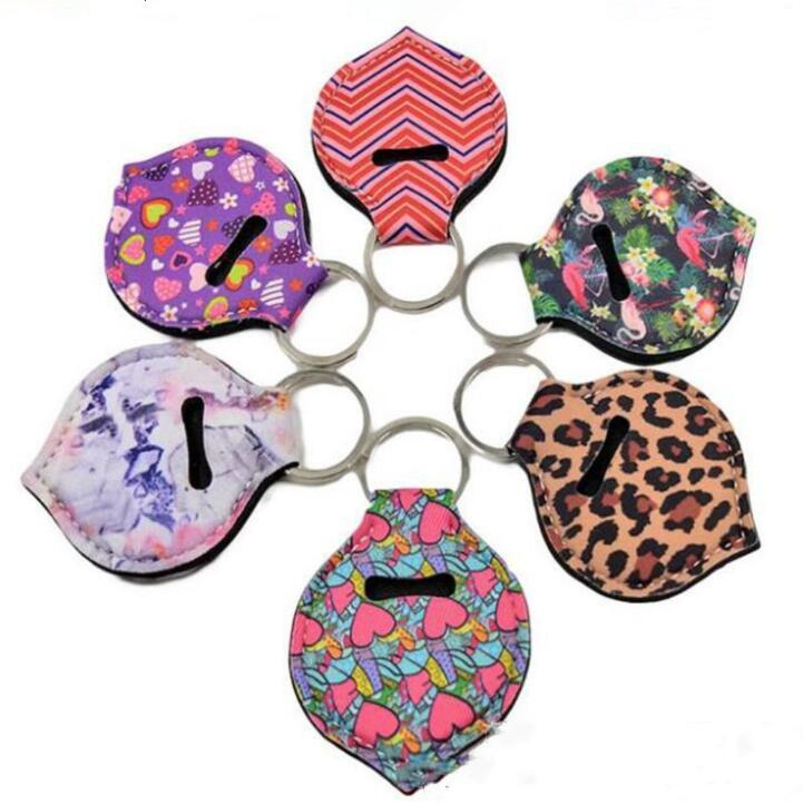 Neoprene Keychains Lipstick Holder Chapstick Bags Cover Lipstick Holder Bag Key Ring Colorful Striped Print Gift Wrap 6 Designs BWB2535