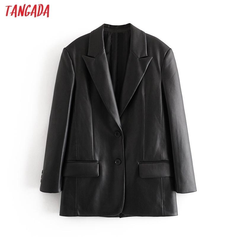 Tangada Kadınlar Siyah Faux Deri Blazer Ceket Vintage Çentikli Yaka Uzun Kollu 2020 Moda Kadın Gevşek Şık Tops QN37 X1214