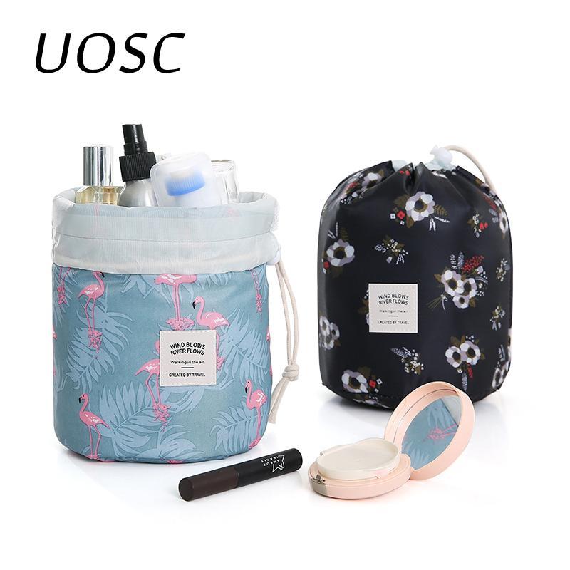 Bolsa de viaje UOSC Mujeres Lazy cordón cosmética de maquillaje Ronda del organizador del bolso Maquillaje de almacenamiento caja de la bolsa de Tocador Belleza Kit Neceser