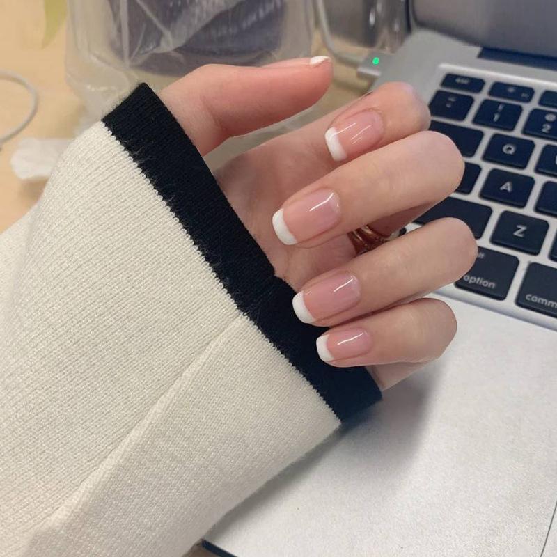 24 шт. / Установить натуральный натуральный белый французский ногтей подсказки ложных поддельных ногтей УФ-гель нажимает на ультра легкий износ для домашнего офиса